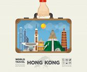 Hand Carrying Hong Kong Landmark Global Travel And Journey Infographic Bag. Vector Design Template.v poster