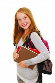 stock photo of young girls  - Young smiling school girl with backpack and books isolated on white background - JPG