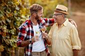 Happy father and son tasting wine in vineyard poster