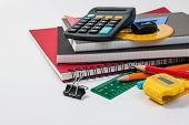 School Supplies Used In Math Class, Geometry Or Science. Mathematics Geometry Tool For Student In Ma poster