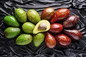 Постер, плакат: Top View Of Colorful Fresh Ripe Avocado Varieties