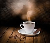 picture of coffee cups  - Black hot coffee cup with chocolate and cinnamon - JPG