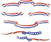 Patriotic American flag theme banners ribbons.