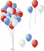 Red white blue balloon vector set