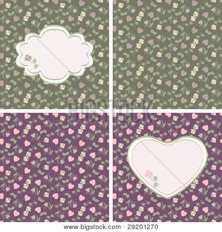 Valentine seamless patterns with hearts and roses