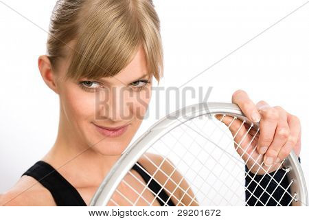 Tennis player woman young smiling hold racket isolated
