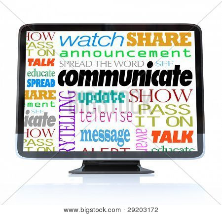 A HDTV television with the word Communicate and many other related words and terms such as watch, show, alert, announcement, update and more