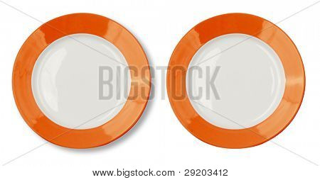 Round plate with orange border and clipping path included