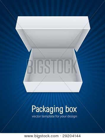 empty open packaging box vector illustration EPS10. Transparent objects used for shadows and lights drawing