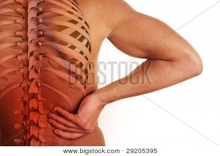 Hand holding hip with visible spine and center of back pain