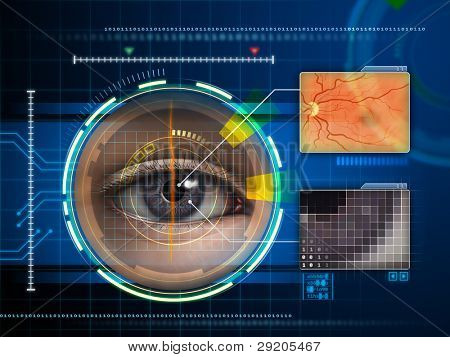 Human eye being scanned by a futuristic interface. Digital illustration.