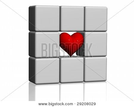 The Red Heart In Grey Cubes