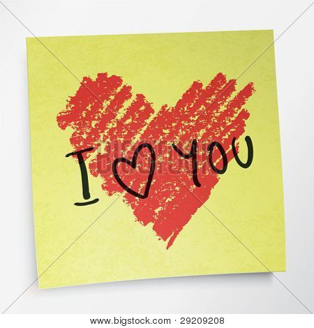 love you words and heart symbol, painted with red lipstick on sticky yellow paper note. Vector, EPS10.