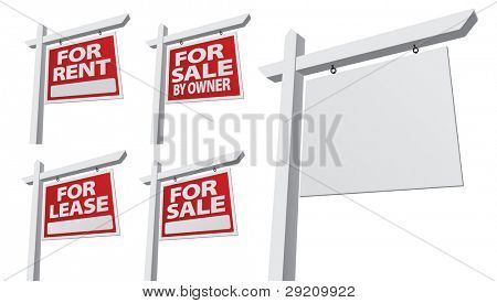 Set of Various Right Facing Vector Real Estate Signs - Blank, For Sale By Owner, For Sale, For Rent and For Lease.
