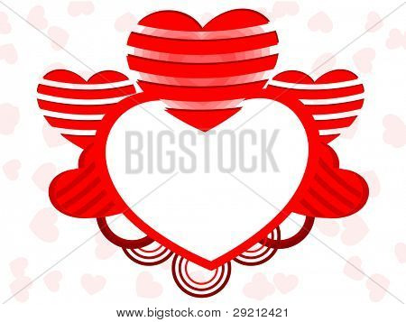 A vector illustration of a heart shape frame decorated with red color heart shapes and copy space on seamless background for Valentines Day and other occasions.