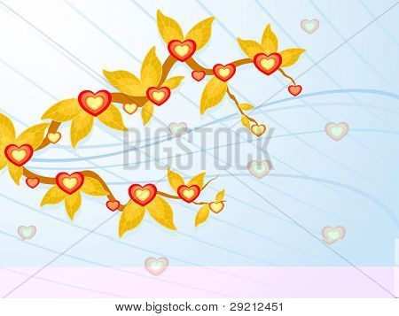 Branch of decorative yellow leaves and beautiful heart shapes on sky blue color background for Valentines Day and other occasions.