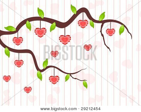 A love tree branch having hanging heart shapes and leafs on seamless line background for Valentines Day and other occasions.