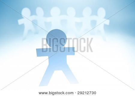 Group of paper doll people. Leadership