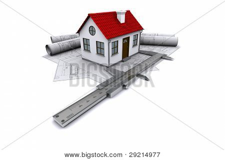 Composition of construction drawings models at home with red roof and calipers