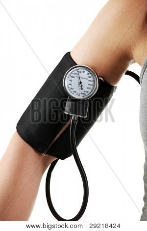 Female hand with blood-pressure meter isolated over white