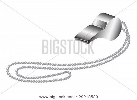 Metal whistle with metal chain
