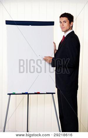 businessman with a flip chart