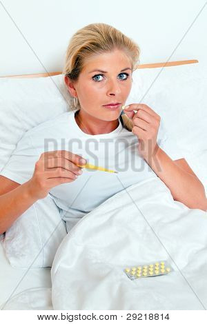 wife is sick in bed