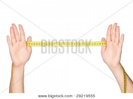 Woman hands with measure tape isolated on white background