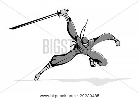 illustration of ninja fighter in action with sword