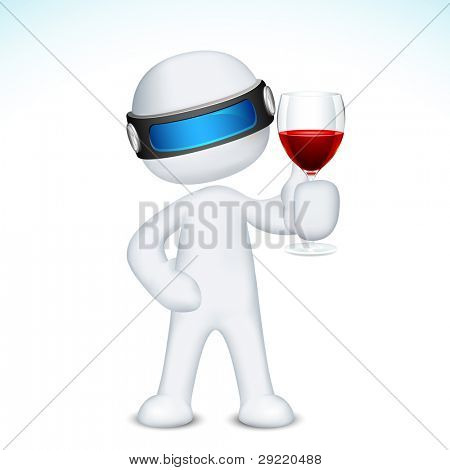 illustration of 3d man in vector fully scalable holding wine glass