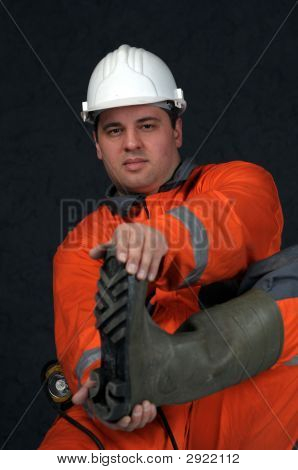 Mine Worker In Boots