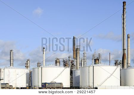 oil depot and storage tanks