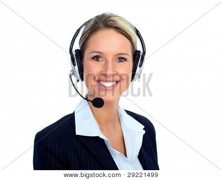 Call customer center operator woman. Isolated over white background