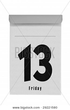 Tear-off calendar shows friday the thirteenth