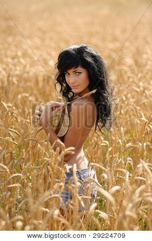 Topless Woman In Wheatfield