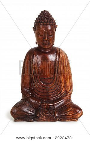 Wooden Figurine Of Meditating Buddha Isolated