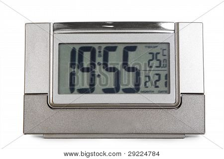 Grey Electronic Alarm Clock Isolated