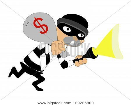 Isolated thief, escaping with money