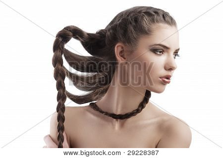 Pretty Brunette With A Long Braid