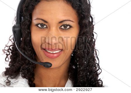 Woman With A Headset Smiling