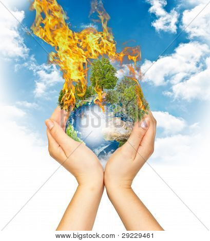 Womanish Hands Holding Burning Earth