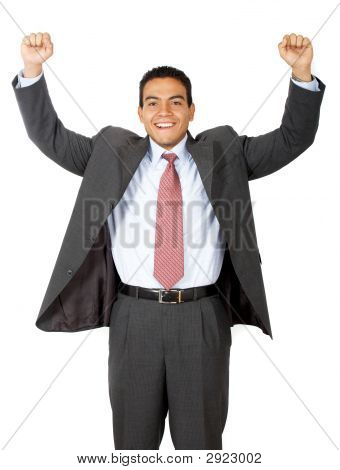 Business Man Enjoying Success