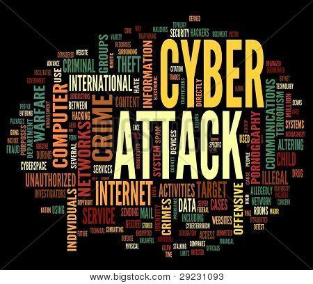 Cyber ataque conceito na nuvem de Tags de palavras isolada no fundo preto