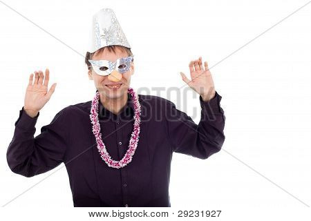 Funny Ugly Nerd Man Wearing Party Mask