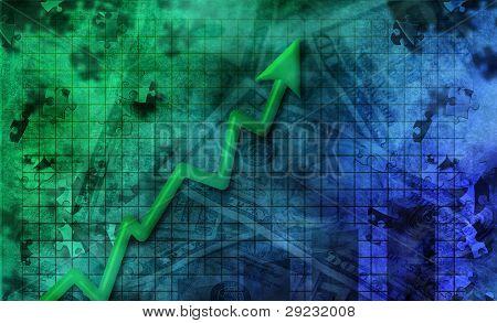 Resumen de negocios con la flecha de impulso al alza