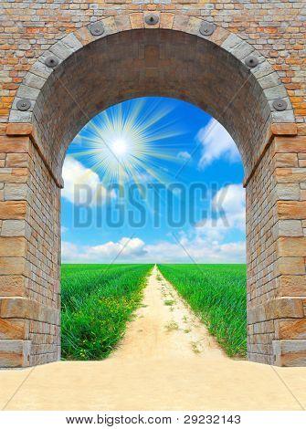 Opened door to early morning in green garden - conceptual image - environmental business metaphor - success concept.