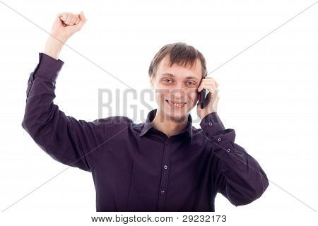 Happy Nerd Man On The Phone