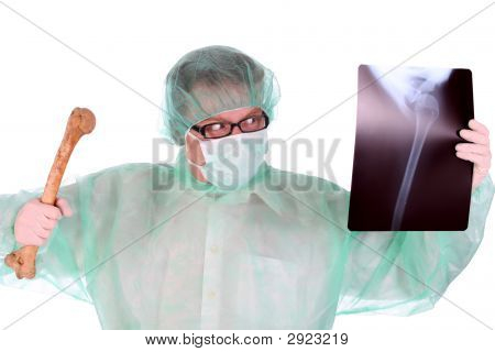 Surgeon With Xray And Bone