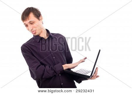 Funny Weirdo Disgusted Man Holding Laptop