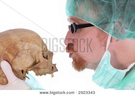 Surgeon With Skull